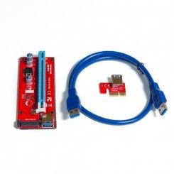 Фото Райзер Dynamode PCI-E 1x to 16x 60cm v.07S Sata Red
