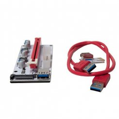 Фото Райзер T-Riser PCI-E 1x to 16x 60cm v.08 6-pin/Molex/Sata White/Black