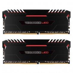 Фото ОЗУ Corsair DDR4 16GB (2x8GB) 3000Mhz Vengeance LED Red (CMU16GX4M2C3000C15R) Black