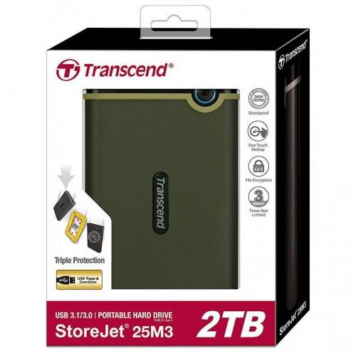 Фото Зовнішній HDD Transcend StoreJet 25M3G 2TB (TS2TSJ25M3G) Military Green