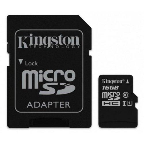 Фото Карта памяти Kingston microSDHC 16GB Class 10 UHS-I (с адаптером) (SDCS/16GB)