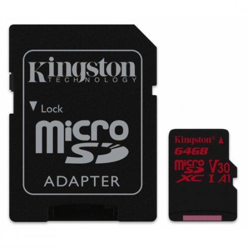 Фото Карта памяти Kingston microSDXC 64GB Class 10 UHS-I (с адаптером) (SDCR/64GB)