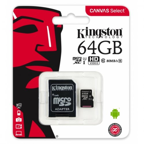 Фото Карта пам'яті Kingston microSDXC Canvas Select 64GB Class 10 UHS-I (с адаптером) (SDCS/64GB)