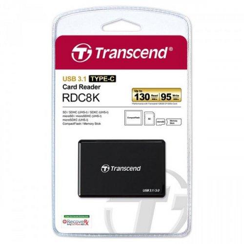 Фото Кардридер Transcend Cardreader Type-C USB 3.1/3.0 SD/microSD (TS-RDC8K) Black