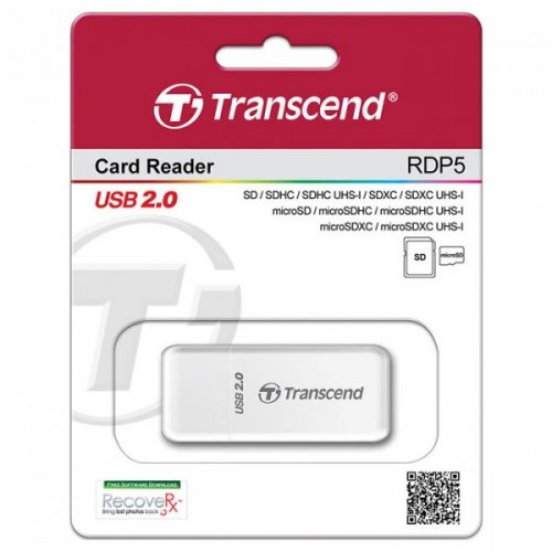 Фото Кардридер Transcend Cardreader 5-in-1 USB 2.0 SD/microSD/HC/XC (TS-RDP5W) White