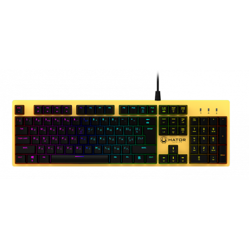 Фото Клавиатура HATOR Rockfall Yellow Edition Outemu Mechanical Switches Blue RU (HTK-601) Yellow