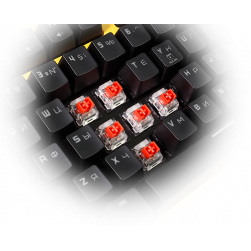 Фото Клавиатура HATOR Rockfall Yellow Edition Outemu Mechanical Switches Red RU (HTK-603) Yellow