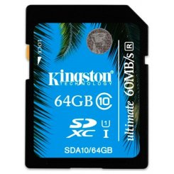 Фото Карта памяти Kingston SDXC 64GB Class 10 UHS-I Ultimate 60MB/s (SDA10/64GB)