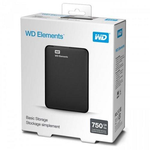 Фото Внешний HDD Western Digital Elements Portable 750GB (WDBUZG7500ABK-WESN) Black